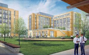 exterior rendering looking at buildings